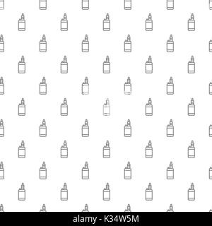 Unique digital vape seamless pattern with various icons and symbols on white background flat vector illustration - Stock Photo