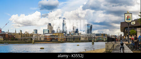 Panoramic view from the Founders Arms on the South Bank of the River Thames of the iconic modern skyscrapers in - Stock Photo