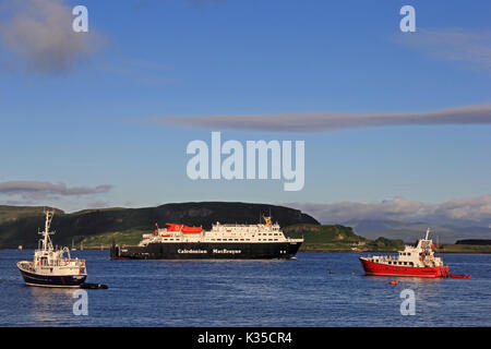 Caledonian McBrayne ferry Clansman leaving Oban Bay, early on a summer morning. - Stock Photo