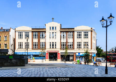 Methodist Church in 'Navigator Square', the newly pedestrianised centre of Archway, North London, UK - Stock Photo