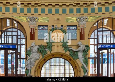 Prague. Czech Republic. Art Nouveau interior of Prague's main railway station Praha hlavní nádraží, designed by - Stock Photo