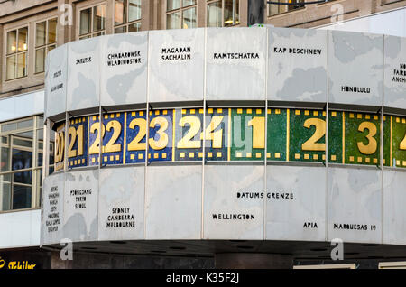 Detail of World Time Clock, Urania-Weltzeituhr, Alexanderplatz, Berlin, Germany - Stock Photo