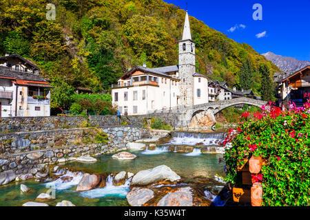 Pictorial Lillianes village,Valle d' Aosta,Italy. - Stock Photo