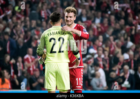 Copenhagen, Denmark. 01st Sep, 2017. Denmark, Copenhagen – September 1, 2017. Nicklas Bendtner of Denmark greets - Stock Photo