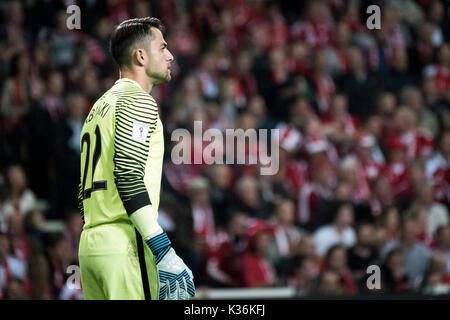 Copenhagen, Denmark. 01st Sep, 2017. Denmark, Copenhagen – September 1, 2017. Goalkeeper Lukasz Fabianski of Poland - Stock Photo