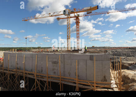 Xiamen, Russia. 15th Aug, 2017. The construction site of the Beloporozhskaya hydropower plant, the first project - Stock Photo