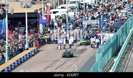 Brighton, UK. 2nd Sep, 2017. The Brighton Speed Trials watched by large crowds of motor racing enthusiasts held - Stock Photo
