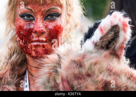 London, UK. 2nd September, 2017. Official Animal Rights March. Several thousand vegans and other animal rights supporters - Stock Photo