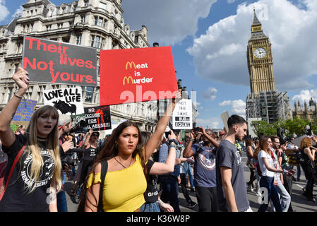 London, UK.  2 September 2017.  Vegans and other demonstrators take part in an Animal Rights march from Hyde Park - Stock Photo