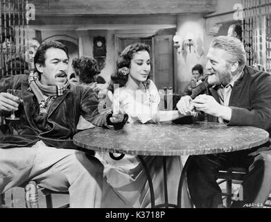 LUST FOR LIFE R-L, Kirk Douglas as Vincent Van Gogh, Anthony Quinn as Paul Gauguin - Stock Photo