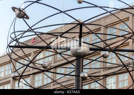 Detail of World Time Clock, Urania-Weltzeituhr, Alexanderplatz, Berlin, Germany - Stock Photo
