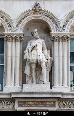 A statue of historic figure Sir Thomas Gresham, located at Holborn Viaduct in London, UK. Gresham was an English - Stock Photo
