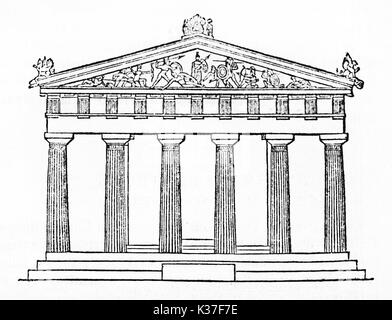 Schematic view of the main side of a doric style greek temple, Temple of Aphaea, Greece. Old isolated Illustration - Stock Photo