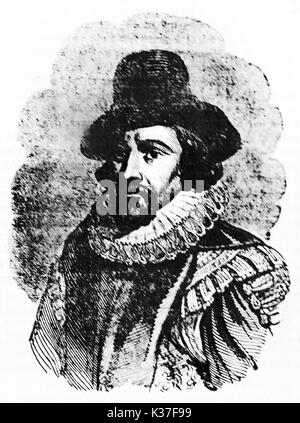 Half body rough portrait of Francis Bacon (1561 - 1626)  English philosopher and statesman. Old Illustration by - Stock Photo
