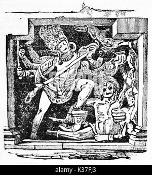 Ancient characters of Indian mythology, reproduction of Dus Awtar bas relief found in Ellora caves India. Old Illustration - Stock Photo