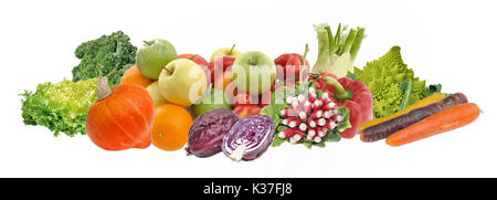 group of fruits and vegetables isolated on white background - Stock Photo