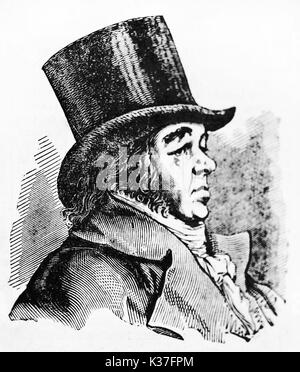 Ancient side view portrait of Francisco Goya (1746 - 1828), Spanish romantic painter, depicted on his profile wearing - Stock Photo