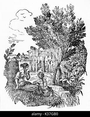 Olive tree standing in an ancient greek bucolic place close to ancient greeks persons. Old Illustration by unidentified - Stock Photo