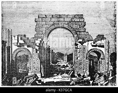 Palmyra monumental arch, Syria, with his typical arabian architecture shapes (recently destroyed by IS). Old Illustration - Stock Photo