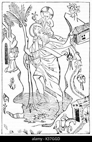 Saint-Christopher and Christ on his shoulders depicted in a iconic minimal medieval style. Old Illustration by unidentified - Stock Photo