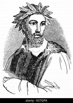 Half body portrait of Torquato Tasso (1544 - 1595) Italian poet with the classic laurel crown. Old Illustration - Stock Photo