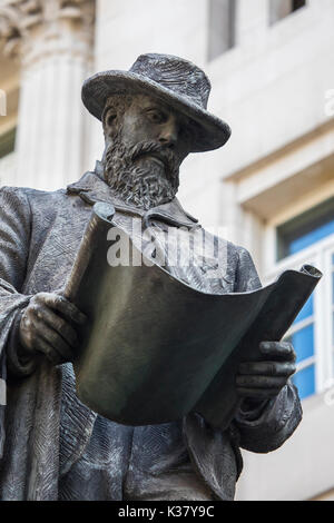 LONDON, UK - AUGUST 25TH 2017: Statue of civil engineer James Henry Greathead, at the Royal Exchange in London, - Stock Photo