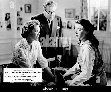 THE YOUNG AND THE GUILTY L-R, PHYLLIS CALVERT, EDWARD CHAPMAN, JANET MUNRO - Stock Photo