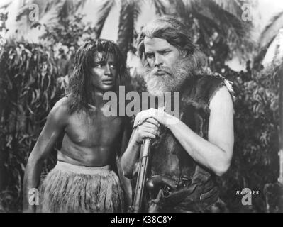 THE ADVENTURES OF ROBINSON CRUSOE (original Mexican title LAS AVENTURAS DE ROBINSON CRUSOE   Mexico 1954)  left:James - Stock Photo