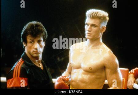 ROCKY IV Director SYLVESTER STALLONE, DOLPH LUNDGREN     Date: 1985 - Stock Photo