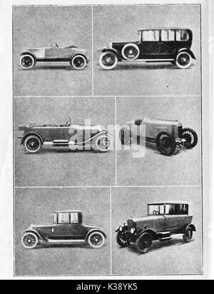 A selection of English automobiles of the 1920's from a 1924 illustration  - l to r  Charron Laycock -Roll's Royce - Stock Photo