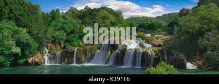 National Park KRKA River Waterfall in Croatia - Stock Photo
