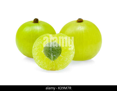 Indian gooseberry or Amla (Phyllanthus emblica) isolated on white - Stock Photo