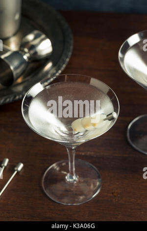 Homemade Boozy Gibson Martini with Cocktail Onions - Stock Photo