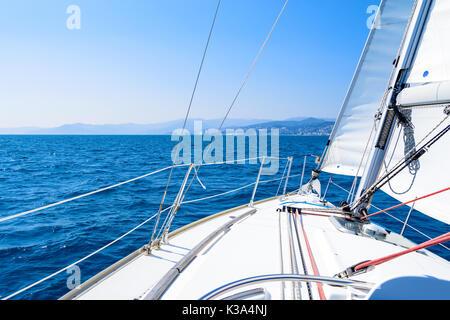 tour in sailing boat in Mediterranean sea Alassio, Ligurian Sea, Italy - Stock Photo