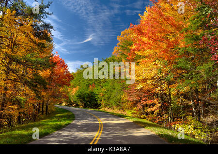 Colorful leaves on Foothills Parkway West in the Great Smoky Mountains National Park in late October. - Stock Photo