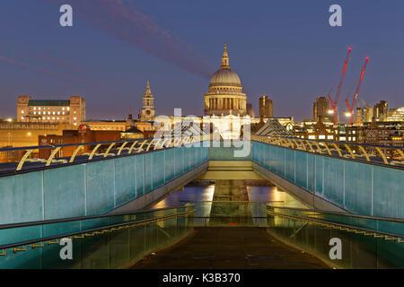 Millennium Bridge and St Paul's Cathedral, London, England, United Kingdom - Stock Photo