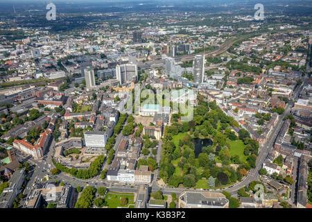 Skyline Essen, Stadtsgarten Südviertel, RWE-Tower, Essen, Ruhr area, North Rhine-Westphalia, Germany - Stock Photo
