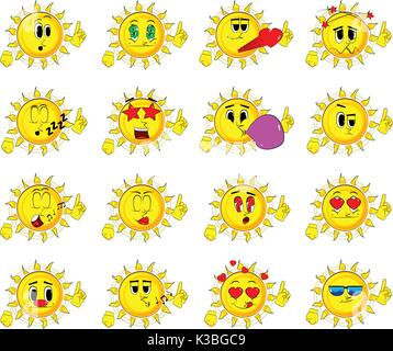 Cartoon sun making a point. Collection with various facial expressions. Vector set. - Stock Photo