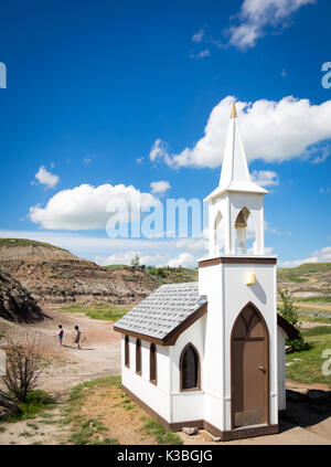 The famed Little Church in Drumheller, Alberta, Canada.  The capacity of the church is 6 people and is popular with - Stock Photo