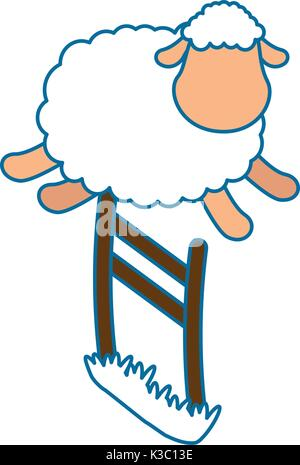 cute sheep jumping the fence - Stock Photo