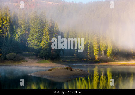 thick morning fog on the lake in spruce forest. small island among reflections on water surface. gorgeous nature - Stock Photo