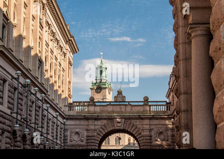 Storkyrkan church clock tower seen from the courtyard of the Swedish parliament in Stockholm Sweden - Stock Photo