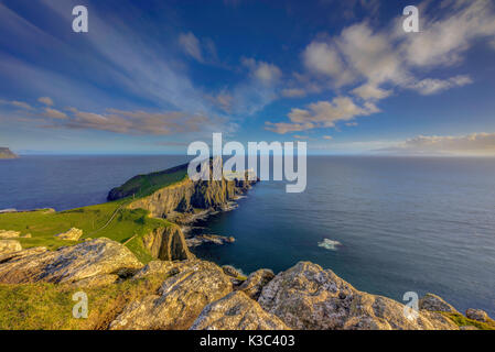 Neist Point Lighthouse near Glendale on the West Coast of the Isle of Skye in the Highlands of Scotland. - Stock Photo
