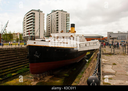 Tall ships visit July 2015 and SS Nomadic, tender to the Titanic is an added attraction in Belfast's Titanic quarter. - Stock Photo