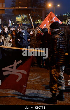 Antifa activists take the street to protest National Front Congress, Lyon, France - Stock Photo