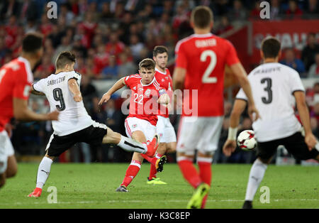Wales' Ben Woodburn scores his side's first goal during the 2018 FIFA World Cup Qualifying, Group D match at the - Stock Photo