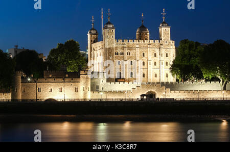 The White Tower -Main castle within the Tower of London,United Kingdom. - Stock Photo