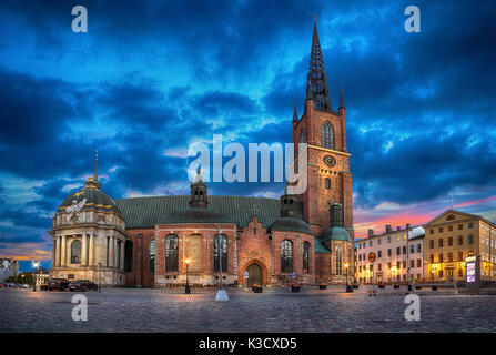 HDR image of Riddarholmen Church at dusk located in Old Town (Gamla Stan) of Stockholm, Sweden - Stock Photo