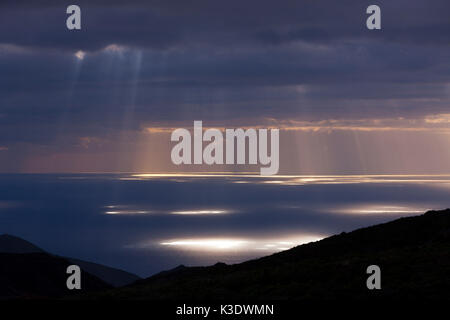 Sunrays break through the cloud cover, Tenerife, the Canaries, Spain, - Stock Photo