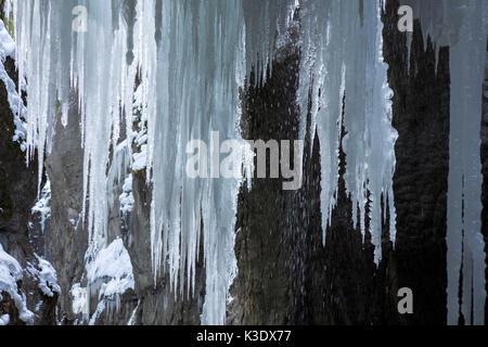 Garmisch-Partenkirchen, Partnachklamm in winter, Upper Bavaria, Germany, - Stock Photo